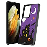 Moriko Case Compatible with Galaxy S21 Ultra [Cute Slim Men Women Girly Shockproof Protective Black Thin Hard Phone Case Cover] for Samsung Galaxy S21 Ultra 5G SM-G998 (Halloween)
