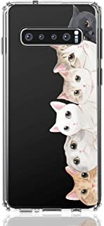 HUIYCUU Case Compatible with Galaxy S10 Plus Case, Shockproof Cute Clear Design Slim Fit Soft TPU Bumper Funny Pattern Back Cover Shell for Galaxy S10 Plus,Orange White Cat