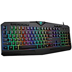 【7-Color RGB LED Rainbow Backlight】7 Backlight modes USB keyboard are available from the changing of single color to 7-color providing you with immersing gaming experience Both the characters and intercharacter gap are illuminating and the lighting e...