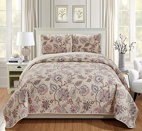 Luxury Home Collection 3 Piece Full/Queen Quilted Reversible Coverlet Bedspread Set Floral Printed Beige Pink Blue #Hilton (Full/Queen)