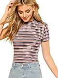 Milumia Women's Casual Multi Striped Ribbed Short Sleeve Solid Tee Knit Top Multicolor Medium