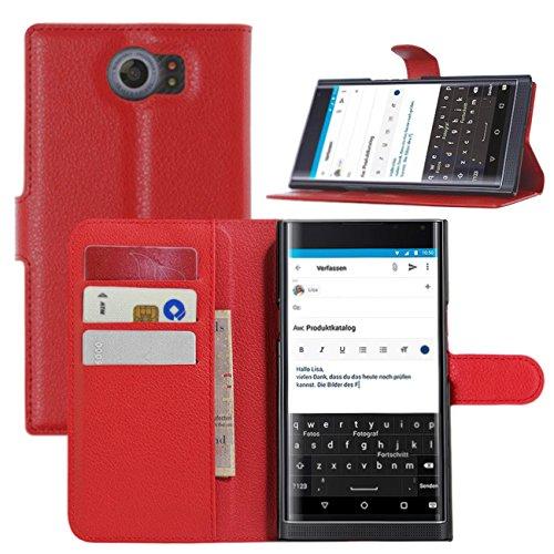 BlackBerry Priv Hülle, HualuBro [Standfunktion] [All Aro& Schutz] Premium PU Leder Leather Wallet Handy Tasche Schutzhülle Hülle Flip Cover mit Karten Slot für BlackBerry Priv Smartphone (Rot)