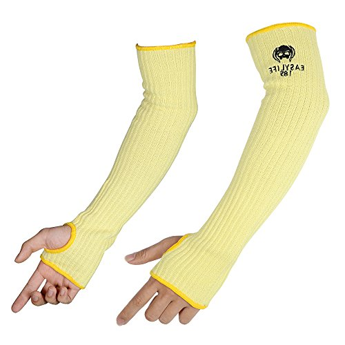 KevlarArmSleevesMOKEYDOU Cut amp Heat Proof Sleeve with Thumb Holes18#039#039 Inch Long Safety Arm GuideFlexible Lighter washableMechanic Sleeves for MenWomen 1 PairYellow
