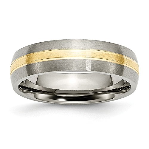 RoseCharm Beautiful Titanium Grooved 14k Yellow Inlay 6mm Brushed Band