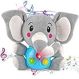 aovowog Juguete Felpa Peluche Elefante,Interactivo Juguetes Bebés 6 Meses más,Juguetes Musicales Juego Sonido Juguetes Suaves,Juguete Educativo Temprano con Música y Luces,Regalo para Niños Pequeños