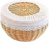 Mimbre tejido Cesta de la cesta de la cesta de la cesta de la cesta del pan de la cesta del pan al vapor Snack Snack Cesta de almacenamiento Escritorio Comedor Sala de estar Almacenamiento Azul Almac