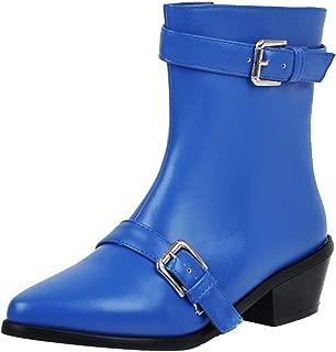 ELEEMEE Women Block Heel Zip Ankle Boots