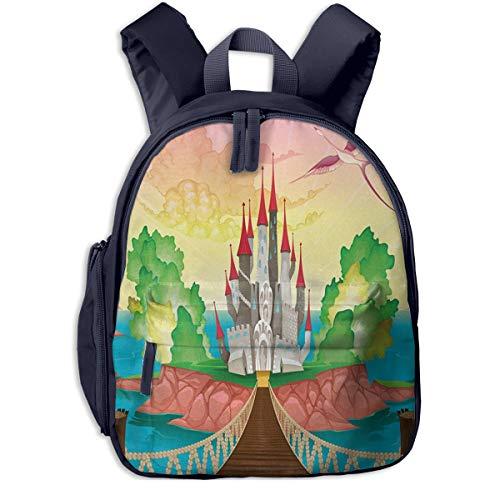 Kinderrucksack Schloss über Holzbrücke Phoenix Babyrucksack Süßer Schultasche für Kinder 2-5 Jahre