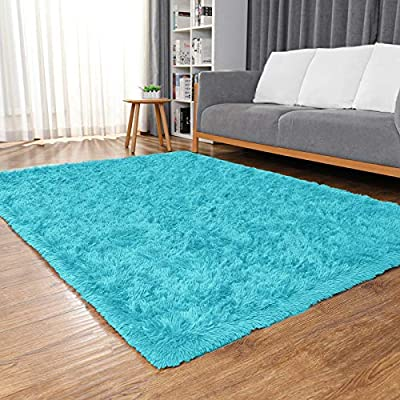Ophanie Machine Washable Fluffy Area Rugs for Living Room, Ultra-Luxurious Soft and Thick Faux Fur Shag Rug Non-Slip Carpet for Bedroom, Kids Baby Room, Nursery Modern Decor Rug, 4x5.3 Feet Blue
