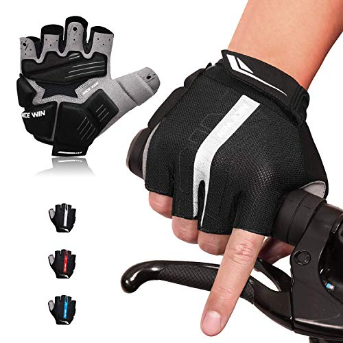 LOHOTEK Guantes de Bicicleta Acolchados SBR de 6 mm de Montaña para Hombres Mujeres Jóvenes Guantes MTB con Acolchado Amortiguador Malla Respirable para Deportes al Aire Libre de Ciclismo (Negro, M)