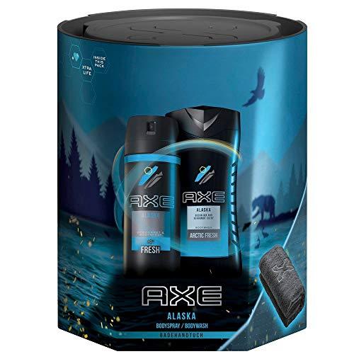 Axe Geschenkset Alaska für ein langanhaltendes Frischegefühl mit Deospray, Duschgel und Badetuch (150 ml + 250 ml)