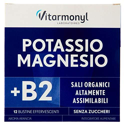 Vitarmonyl POTASSIO MAGNESIO  Integratore 12 bustine  Sali Minerali  Con Vitamina B2  Registrato Ministero Salute Italiano
