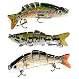 6 Segment Swimbait Lures Fishing Lures Hard Bait Minnow Lure with Treble Hook 3D Life-like Swimbait Fishing Bait Popper Crankbait Vibe Sinking Lure for Bass Trout Walleye (grey,yellow,flowers))