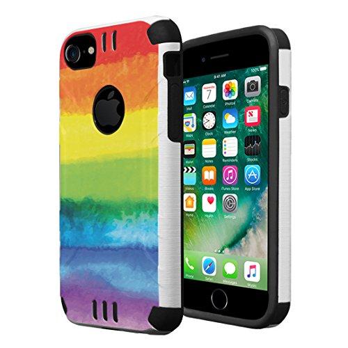iPhone 7 Case, iPhone 6 / 6S Case, Capsule-Case Hybrid Dual Layer Silm Defender Armor Combat Case Brush Texture Finishing for Apple iPhone 7 / iPhone 6S / iPhone 6 - (Pride Flag)