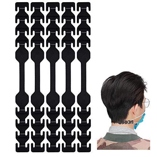 seOSTO Maskenverlängerungsgurt, Maskenhalter, Maskenverlängerungshaken zum Verlängern von Masken, Schnallenband für Erwachsene und Kinder (NEU schwarz-10)