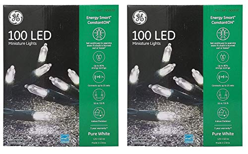 Nicholas Holiday Inc GE 100 Miniature White LED Light String -2 Pack