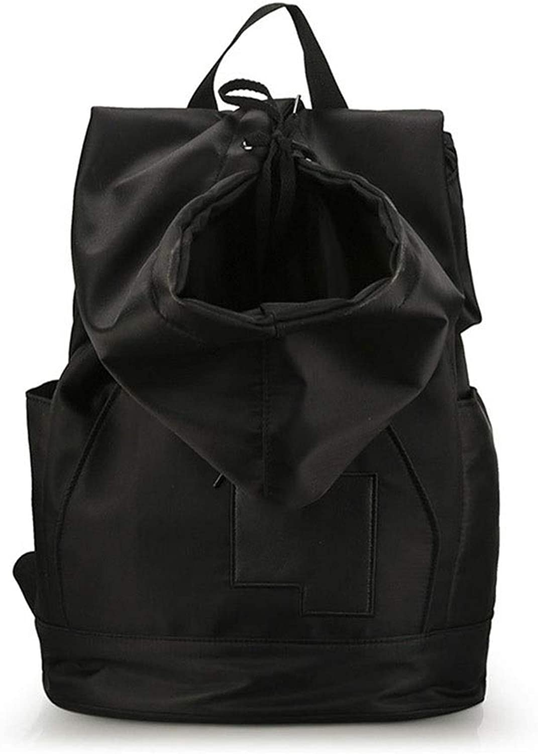 KUVV Durable Nylon Cloth Personality Clothes Hat Shoulder Bag Outdoor Leisure Travel Backpack Men and Women Fashion Trend Solid color Sports Bag (color   Black)