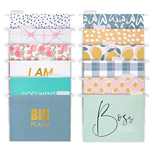 Decorative Hanging File Folders - 12 Letter Size Reinforced Colored Hang Folders, 1/5-Cut Adjustable Tabs - Cute Designs and Gold foil Font, Office Supplies, 9.25 x 11.75 Inches