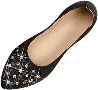 Ohbiger Womens Foldable Soft Pointed Toe Ballet Flats Rhinestone Floral Comfort Slip on Flat Shoes