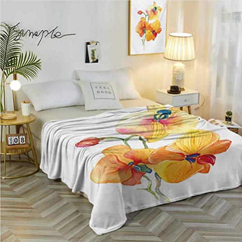 """50"""" W x 70"""" L Floral Warm Bed Blanket Available in All Seasons Orchid Petals Wild Flower Exotic Fragrance Pure Florets Watercolor Tribal Red Yellow Marigold"""