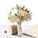 Ramo de Novia Flor Seca Mano Nupcial Decoración de Flores, Blanco lechoso