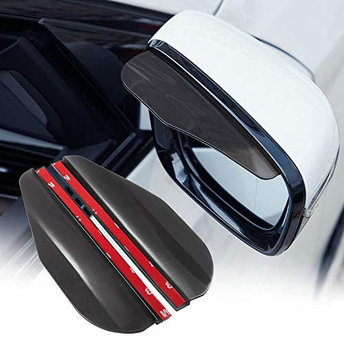 TOMALL 2Pcs Rear View Mirror Rain Visor Smoke Guard Universal Black Thicken Rear View Side Mirror Rain Eyebrow for Cars SUV Truck Rear View Mirror Cover Accessories (Black)
