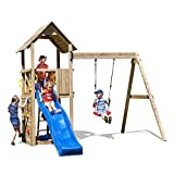 Fungoo Spielturm Carol 2 Premium Kletterturm Garten mit Holzdach inkl. Bodenanker Schaukel Blaue...