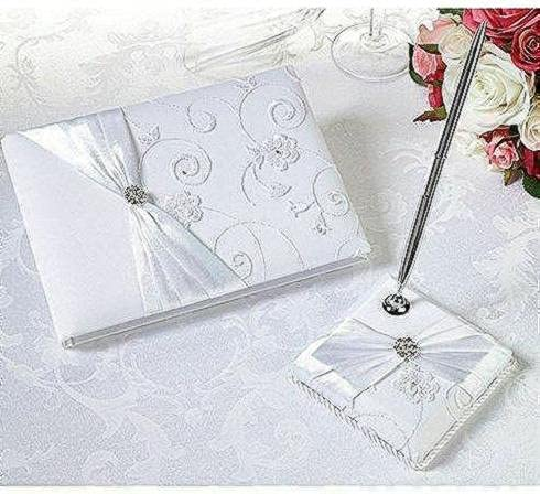 toroc White Satin Wedding Guest Book with Desig Pen and Superior Set OFFicial mail order Lace