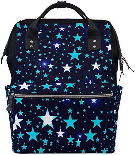 UUwant Sac à Dos à Couches pour Maman Large Capacity Diaper Backpack Travel Manager Baby Care Replacement Bag Nappy Bags Mummy Backpack Bright Stars Deep Space Pattern School Bag
