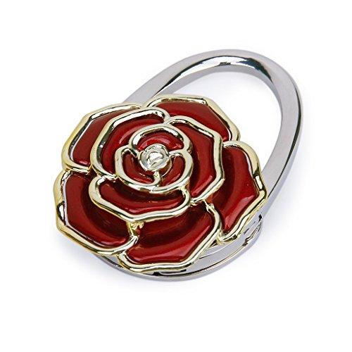 Senmubery Plegable Gancho de la Suspension del Bolso Durable Forma de la Flor de Rosa (Rojo)