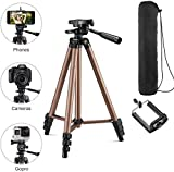3120 Tripod Stand | Foldable Camera-Tripod with Mobile Clip Holder Bracket,4 Section Adjustable