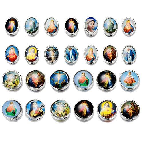 80pcs mezcla de Nuestra Señora Jesús Cruz Santa María con Medalla Milagrosa Rosario Cuentas DIY Collar Pulseras Joyería Hacer (Plata)