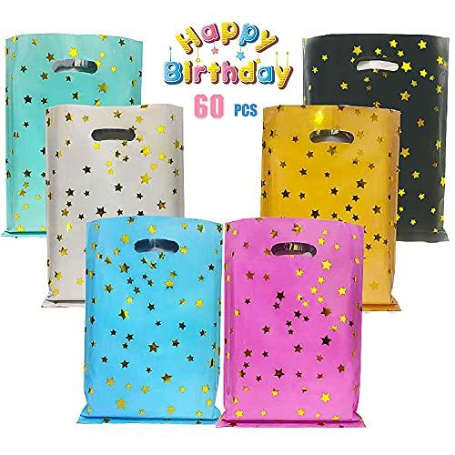 Bolsas regalo, 60 pcs bolsas para chuches,Bolsas Regalo Cumpleaños,Bolsitas Caramelos Plástico,bolsas de regalo plastico,bolsas para chuches comunion,bolsas de galletas de navidad