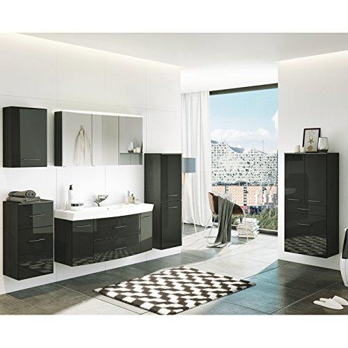 Badmöbel Set FLORIDO-03 Hochglanz grau, 120cm Waschtisch, LED-Spiegelschrank, B x H x T: ca. 230 x 200 x 47 cm