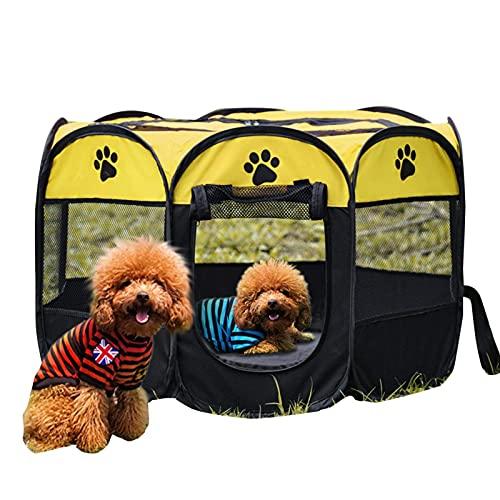 PET gato perro perro portátil plegable caja jaula perrito conejo guinea cerdo ejercicio juego carpa malla cubierta adorable diseño suave oxford tela jugarse pluma perrera portátil para interiores al a