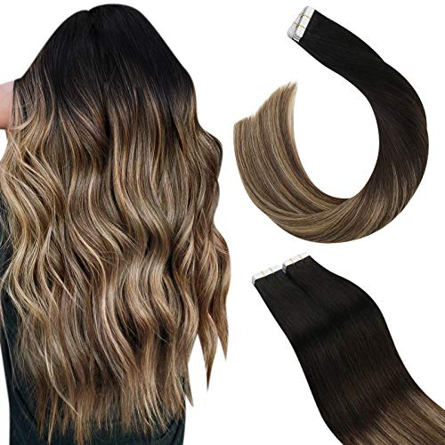 Ugeat Extension Tape in Capelli Veri 60cm Extension Adesive Capelli Veri Balayage Nero Naturale con Marrone Scuro a Biondo Caramello Extension Biadesive Capelli Veri Remy 50G/20PCS