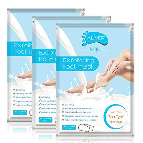 Paquete de 3 mascarillas exfoliantes para los pies, calcetines exfoliantes para los pies, callosidades, removedor de piel muerta, mascarilla exfoliante para los pies con aloe para pieles secas