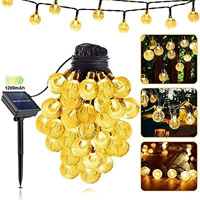 LILCKLIP Solar String Lights, 40ft 100 LED (?1.0 inch) Outdoor Globe Bulb String Lights, Waterproof 8 Modes Solar Patio Light for Patio, Garden, Gazebo, Yard, Outdoors, Wedding, Christmas (Warm White)