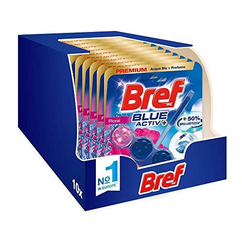 Bref Bref Wc Blue Activ+ Floral, Detergente Profumatore Wc In Pastiglie Igienizzante Bagno, Pulito, Fresco, Confezione Risparmio 10 Pezzi - 500 g