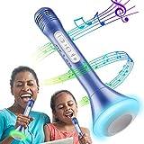 RenFox Bluetooth Microfono Wireless,Bambini Altoparlante Microfono Karaoke Bluetooth Player Compatibile Tutti Gli Smartphone (Blu)