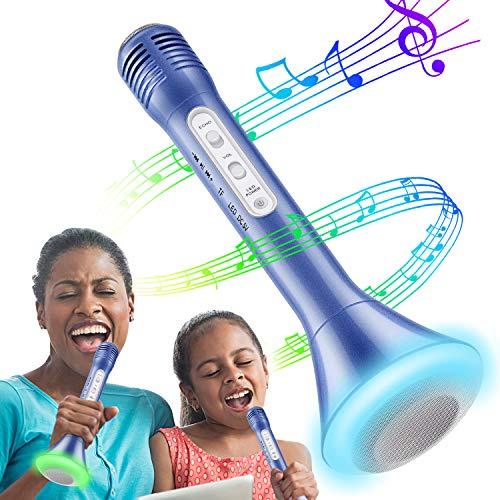 Micrófono Inalámbrico Portátil Bluetooth Altavoz Incorporado para Batería de Compatible con Smartphone Reproductor De Música Máquina Mic Altavoces Incorporados