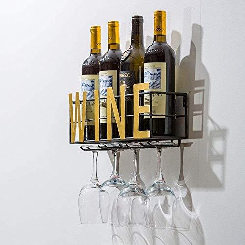botellero de pared con 4 postes largos de vidrio y almacenamiento de corcho