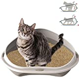 Smartweb Katzenklo 49cm x 40cm x 17cm Katzentoilette mit Anti Schmutzrand Ecktoilette für große und kleine Katzen