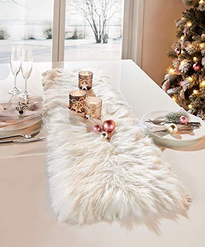 Dekoleidenschaft Tischläufer aus Kunstfell in Creme/weiß, 30 x 120 cm, Tischband, Mitteldecke