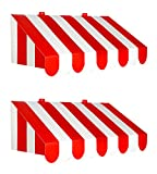 Beistle 54934, 2 Piece 3-D Awning Wall Decorations, 24.75' x 8.75' (Red/White)
