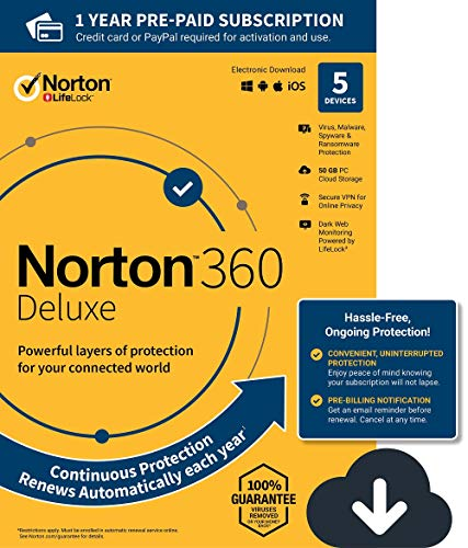 Norton 360 Deluxe – Antivirus software for 5 Devices with Auto Renewal - Includes VPN, PC Cloud Backup & Dark Web Monitoring powered by LifeLock - 2020 Ready [Download]