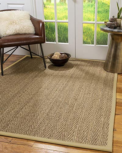 NaturalAreaRugs 100%, Natural Fiber Handmade Beach, Natural Seagrass Rug 2'6' x 10' Sand Border
