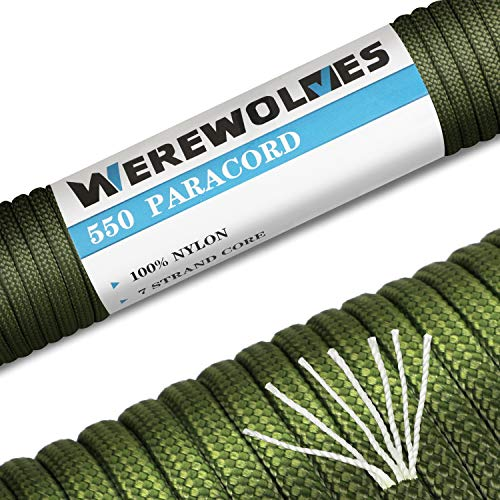 WEREWOLVES 550lb Paracord/Parachute Cord Type III 7 Strand - 100% Nylon Core and Shell - Multiple Colors, 100 Feet (Olive Green, 100 feet)