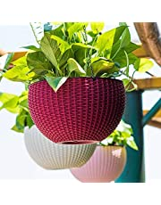 Oshi Greens Plastic Hanging Flower Pot Basket With Hook Chain, Assorted, B-22 cm, H-13 cm, 3 Pieces