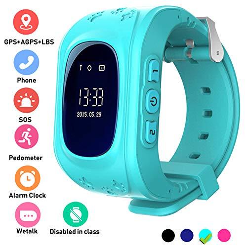 Niños Smartwatch Teléfono Localizador GPS, Reloj de Pulsera Inteligente con Chat de Voz SOS Cámara Despertador Reloj Digital Mejor Regalo Niño y niña de 3 a 12 años Compatibles con iOS Android,Azul